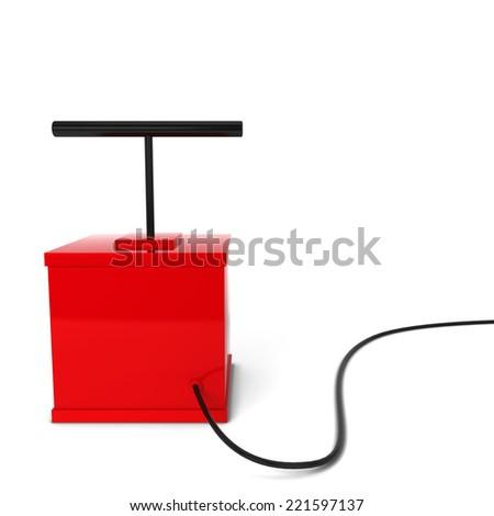 Red detonator. 3d illustration isolated on white background - stock photo