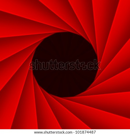 Red diaphragm with black hole inside, 3d - stock photo