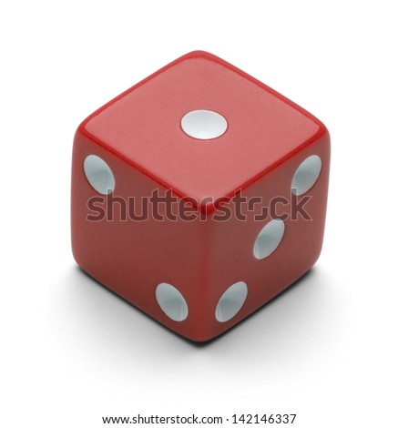 Red Dice Isolated on White Background. - stock photo