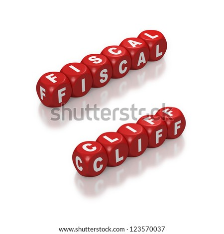 Red dice or cubes with text of Fiscal Cliff on white background - stock photo