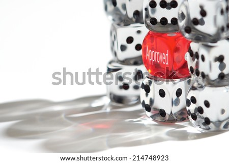 Red Dice Standing out from the crowd, Approved concept. - stock photo