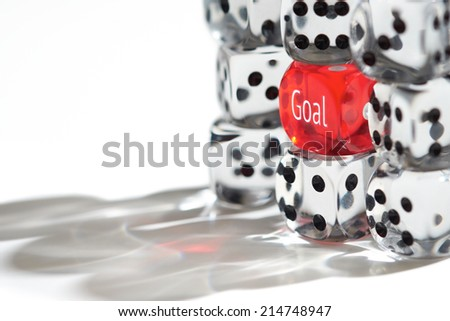 Red Dice Standing out from the crowd, Goal concept. - stock photo