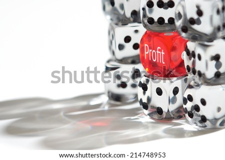 Red Dice Standing out from the crowd, Profit concept. - stock photo