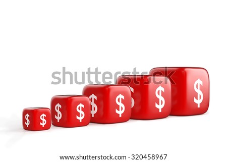 Red Dices with Dollar Currency Symbol - stock photo
