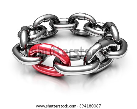 Red Different Chain Link. Teamwork Concept 3d Render Illustration - stock photo