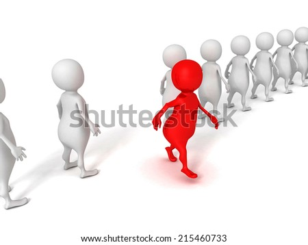 red different 3d person walks out from crowd. success individuality concept 3d render illustration - stock photo