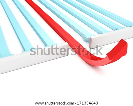 red different leader arrow grow up through wall - stock photo