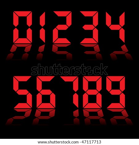 Red digital clock readout with numbers reflected in black background - stock photo