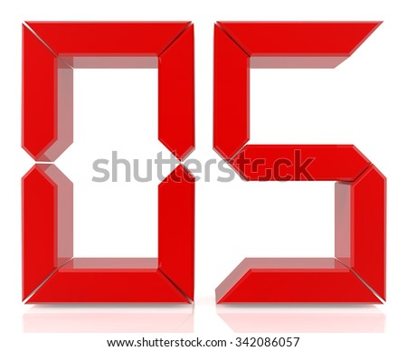 Red digital numbers 05 on white background 3d rendering - stock photo