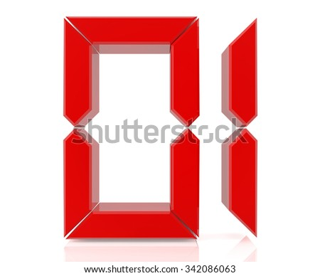 Red digital numbers 01 on white background 3d rendering - stock photo