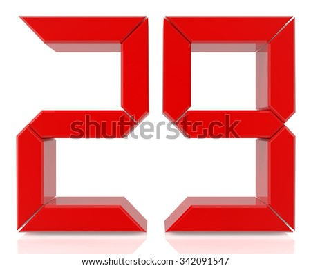 Red digital numbers 29 on white background 3d rendering - stock photo