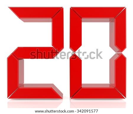 Red digital numbers 20 on white background 3d rendering - stock photo