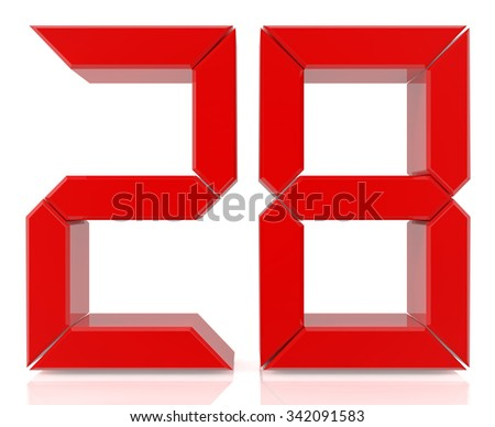 Red digital numbers 28 on white background 3d rendering - stock photo