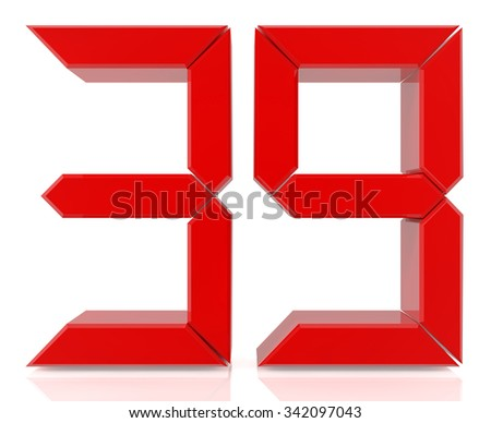 Red digital numbers 39 on white background 3d rendering - stock photo