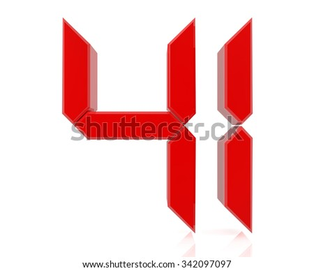 Red digital numbers 41 on white background 3d rendering - stock photo