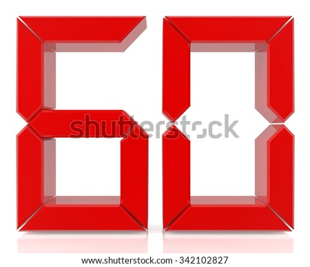 Red digital numbers 60 on white background 3d rendering - stock photo