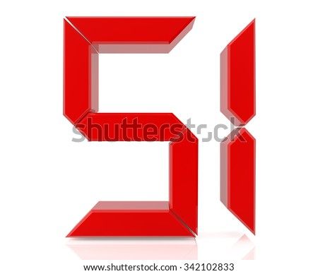 Red digital numbers 51 on white background 3d rendering - stock photo