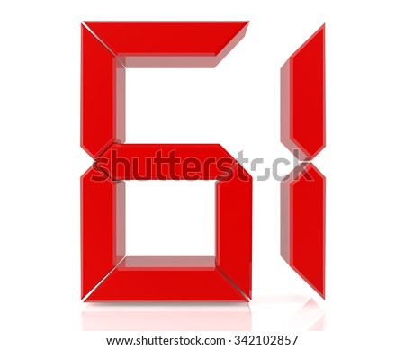Red digital numbers 61 on white background 3d rendering - stock photo