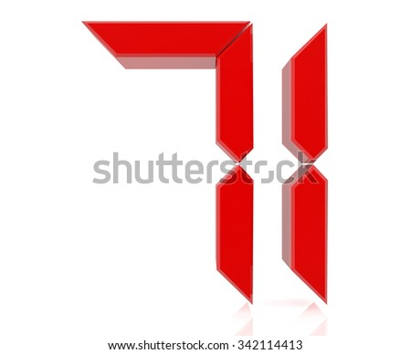 Red digital numbers 71 on white background 3d rendering - stock photo