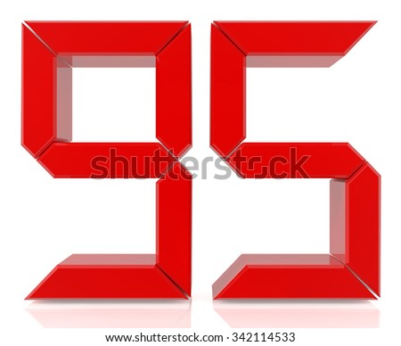 Red digital numbers 95 on white background 3d rendering - stock photo