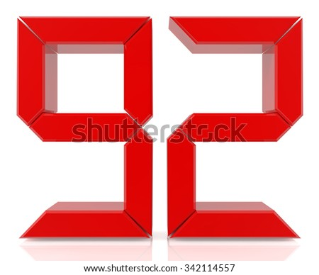 Red digital numbers 92 on white background 3d rendering - stock photo