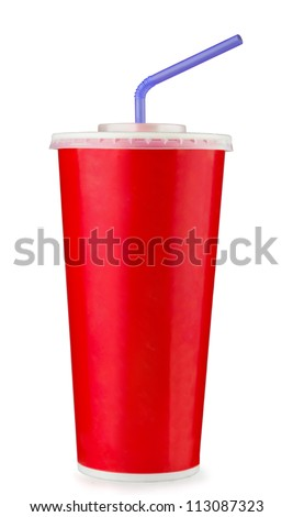 Red disposable paper cup isolated on white - stock photo