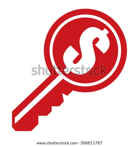 Red Dollar Currency Key Infographics Flat Icon, Sign Isolated on White Background - stock photo