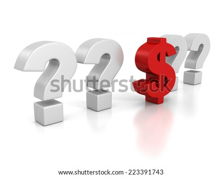 red dollar currency symbol in question marks crowd. 3d render illustration - stock photo