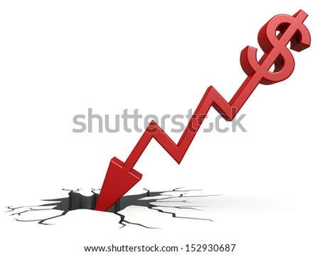 Red dollar down to ground - stock photo