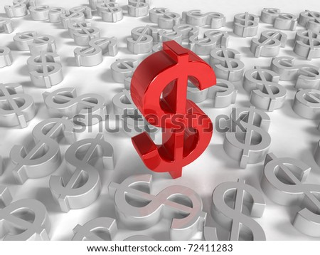 Red Dollar symbols on white Background one Dollor stands out - stock photo