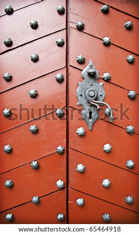 Red door at Kronborg Castle - stock photo