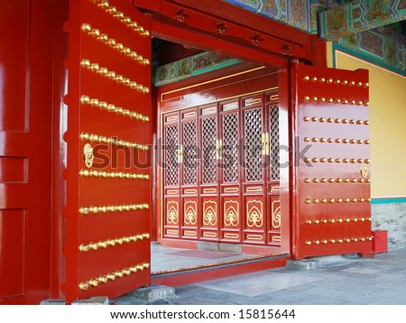 red door in chinese temple - stock photo