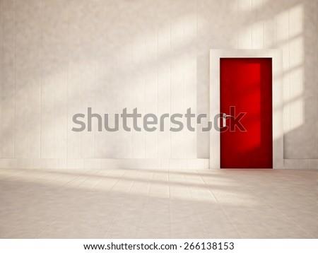 red door in the empty room, 3d rendering - stock photo