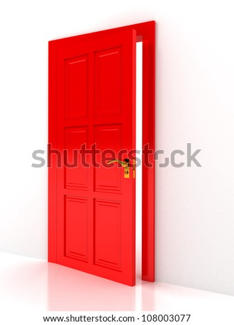 Red door over white background. computer generated image - stock photo