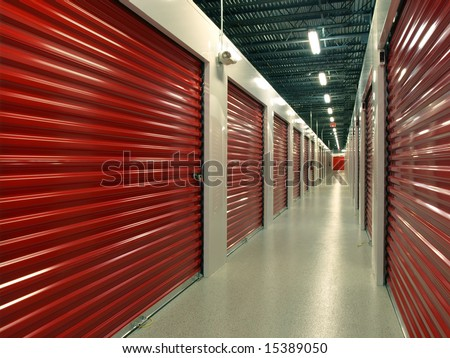 Red door Storage Units hallway perspective - stock photo
