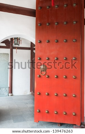 red doors detail of Wen Miao confucian confucius temple in shanghai china popular republic - stock photo
