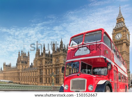 Red double-decker for Parlament, London - stock photo