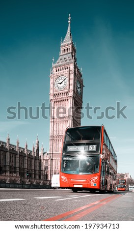 Red doubledecker bus in front of Big Ben in London - stock photo