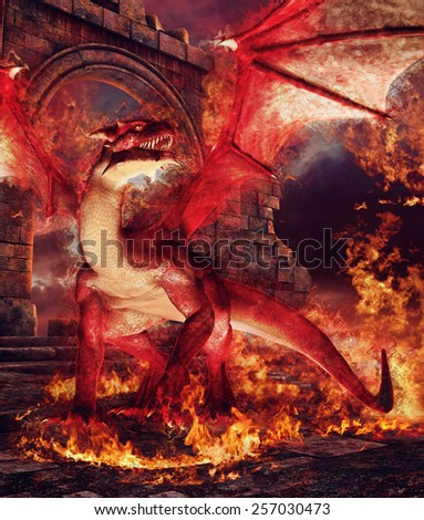 Red dragon in a ring of fire in front of castle ruins - stock photo