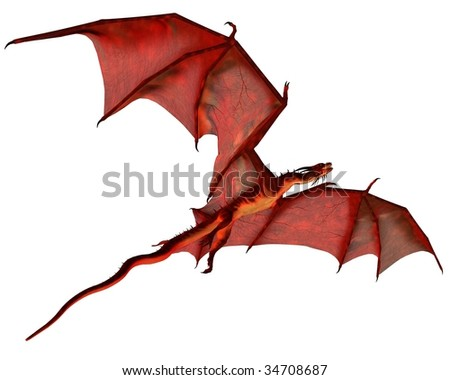 Red Dragon in Flight - stock photo