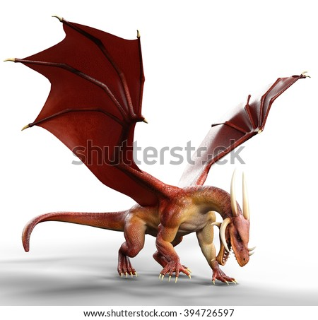 red dragon on the floor - stock photo