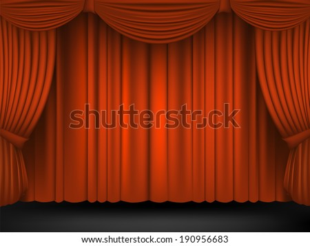 Red Draped Theater.Raster copy. - stock photo