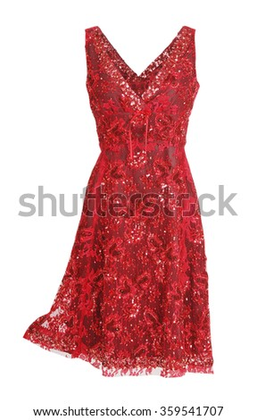 red dress isolated on white - stock photo