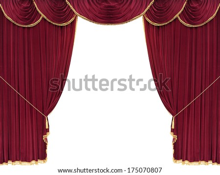 Red drop curtain with white copy space - stock photo