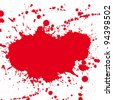 Red drop ink splatter, blood splash. Gloss brush paint spot, grunge blot, art blob, oil, abstract droplet. Splat, liquid illustration. Space for text. Raster version - stock photo