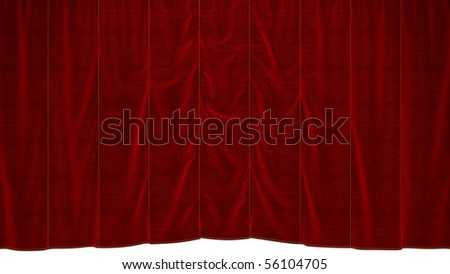 Red dropping Curtain with beautiful textile pattern. Extralarge resolution - stock photo