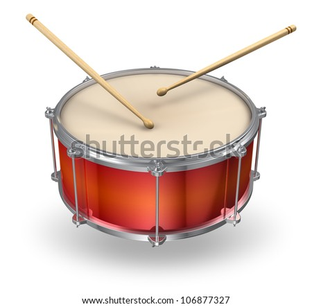 Red drum with pair of drumsticks isolated on white background - stock photo