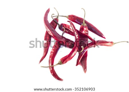Red dry chili, capsicum, isolated on white background - stock photo