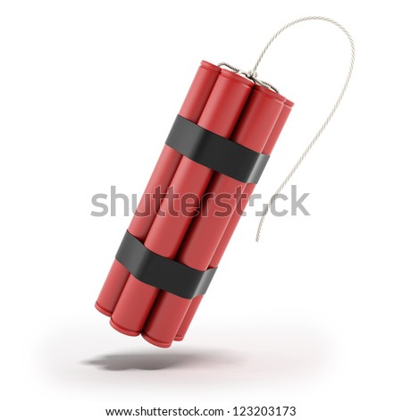 Red Dynamite isolated on a white background - stock photo