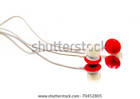 Red earphone Isolaed on white background - stock photo